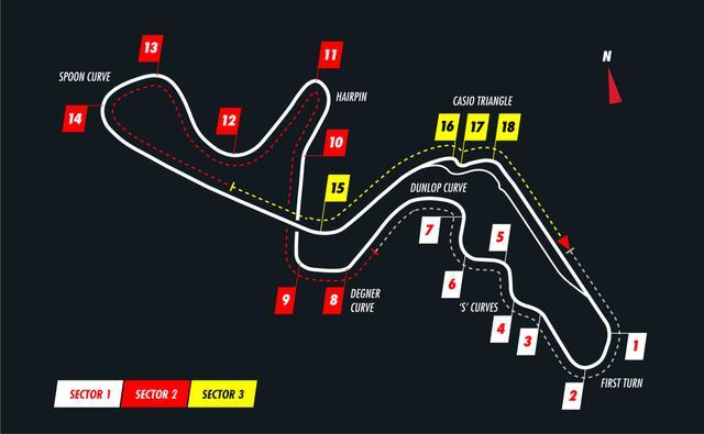 画像: 鈴鹿サーキットのコース図。3〜7コーナーが「S字」、8〜9コナーが「デグナー」。15コーナーは「130R」と呼ばれる。