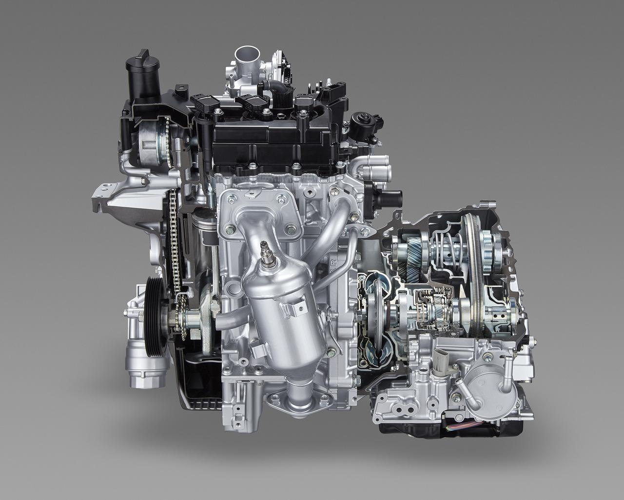 画像: TNGA化にともない各部を大幅に改良した1リッターユニットの1KR-FE。CVTも小型/軽量化されている。