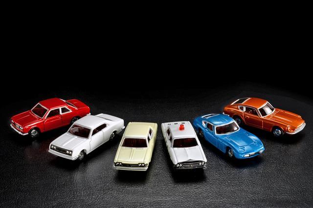 画像: 「トミカ50周年記念コレクション」。左から、ブルーバードSSSクーペ、コロナマークIIハードトップ、クラウン スーパーデラックス、クラウン パトロールカー、トヨタ2000GT、フェアレディZ432。