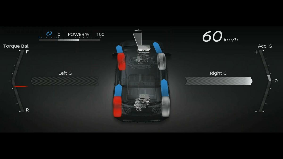 画像: 可変トルク4WD。前後のモーターには統合制御によるトルクベクタリング機能が盛り込まれる。アリアにも採用される可能性が高い。