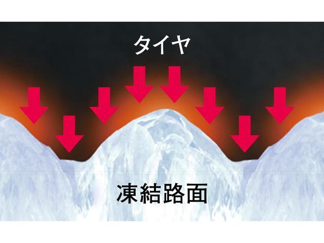 画像: 一見滑らかに見える凍結路面には、細かい凹凸が。微細な氷の凹凸にも密着する。
