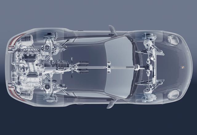 画像: ポルシェ独自のパッケージングであるリアエンジンの4WD。センターにあるビスカスカップリングの中には、円形に重ねられた薄いスチール製のクラッチプレートが納められている。