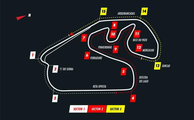画像: インテルラゴス・サーキットのコース図。13コーナーから1コーナーまでの緩くコーナリングする「ロングストレート」が有名。