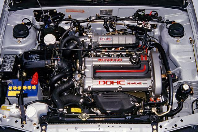 画像: 当時クラス最強の145ps/21.0kgmを誇った4G61型サイクロン ターボエンジン。
