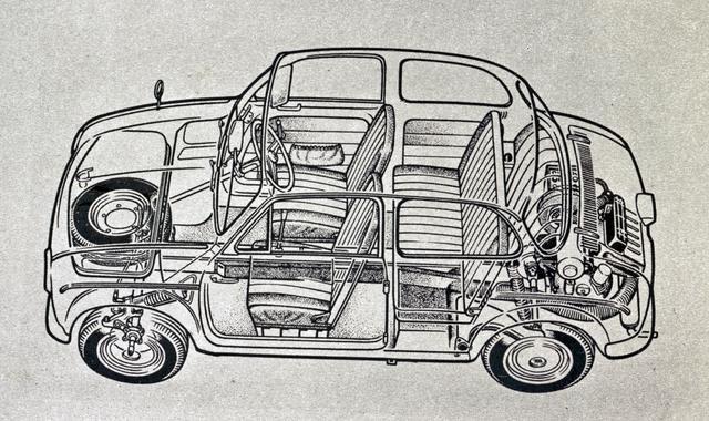 画像: 三菱 500の透視図。極めてシンプルな造りが、よくわかる。