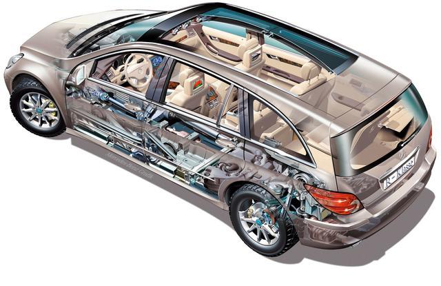 画像: フロントにダブルウイッシュボーン、リアに4リンクのサスペンションの構成は、基本的に新型ML350/ML500と部品を共有するが、細部のセッティング、チューニングは異なる。ベーシックモデルはコイルスプリングだが、エアマティックDCサスペンション装備車も用意される。