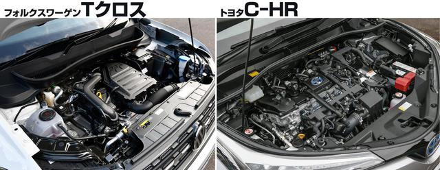 画像: 1L直3ターボエンジンを搭載するTクロス(左)と、1.8L直4+モーターのハイブリッドシステムを搭載するC-HR(右)。