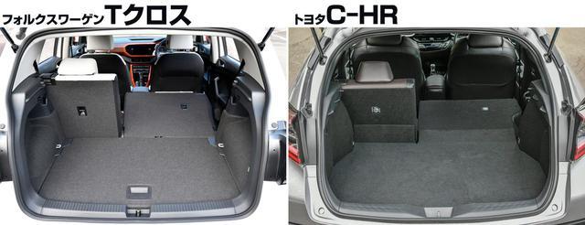 画像: ラゲッジルームを正面から比較。容量はTクロス(左)385Lなのに対してとC-HR(右)は318L。