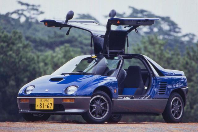 画像: これはオートザム AZ-1。スズキにOEM供給された「キャラ(CARA)」という車種もある。エンブレムやフォグランプの有無が外観での違いとなる。