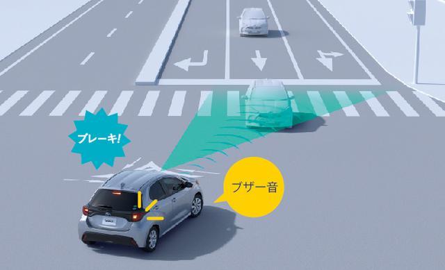 画像: 新型ヤリスに搭載される交差点事故対応PCS(プリクラッシュセーフティ)のイメージ図。ブザー音と自動ブレーキで衝突被害を軽減する。