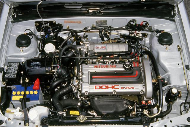 画像: 三菱としてはギャランGTO MR以来の1.6L DOHCエンジンを搭載。トップグレードはターボも装着。