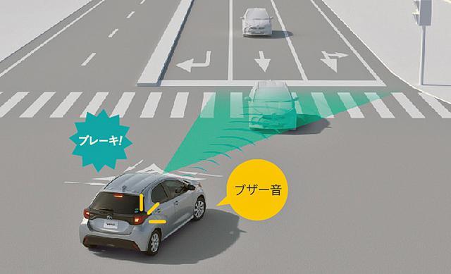 画像: 交差点右折時の対向直進車・右左折後の横断歩行者も検知対象とした「トヨタ セーフティセンス」のイメージ。