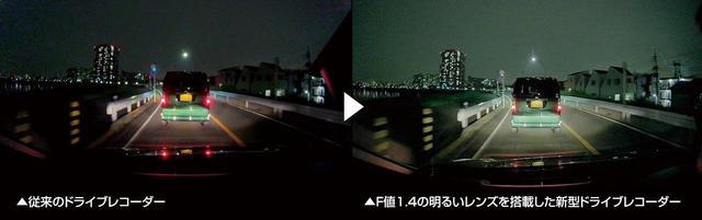 画像: 高性能レンズを搭載したモデルも多く登場している。この画像(右)はタイトル写真と同じパナソニックのドライブレコーダー、CA-DR03D/CA-DR03TDで撮影したもの。