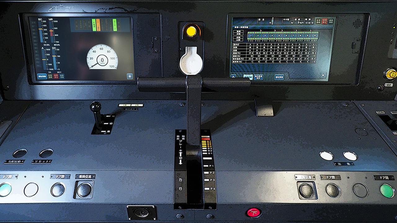 画像: 力行(加速)4段・制動8段が一体のT型マスコンハンドルが運転台中央に位置するのが、東急相直用の証し(JR標準は左手操作)。ボタン型スイッチは少なく、速度計をはじめ大半の情報はLCDパネルに表示され、タッチ操作する。
