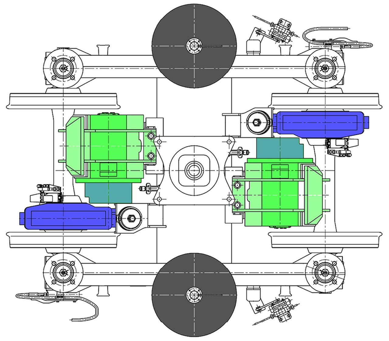 画像: 動力台車の平面図。緑の電動機が、青い部分のギアボックスにカーボン複合材の継手で接合される。狭軌は車輪の内側幅が990mmなので、電動機はかなり小さい。灰色の空気バネ上に直接車体が載る。