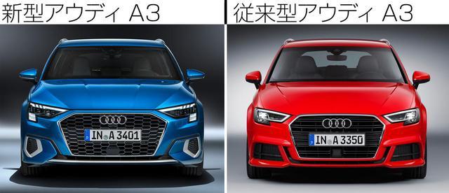 画像: 左が新型アウディA3スポーツバック35TFSI。シングルフレームグリルはさらにワイドになった。右は従来のアウディA3スポーツバック 1.4TFSI。