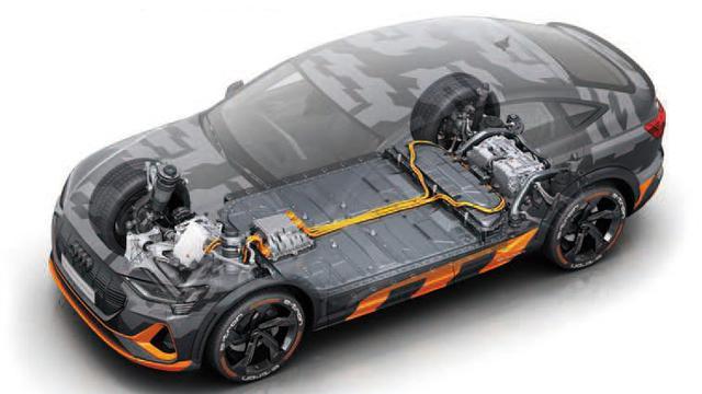 画像: 今回試乗したモデルの透視図。フロントに1基、リアに2基のモーターを配置。平らな床下にはバッテリーが隠されている。