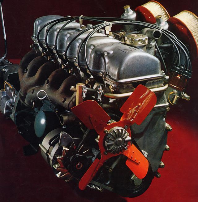 画像: 3M型のベースとなったM型エンジン(写真はSUツインキャブを採用したMーB型)。ヘッドはアルミだ。