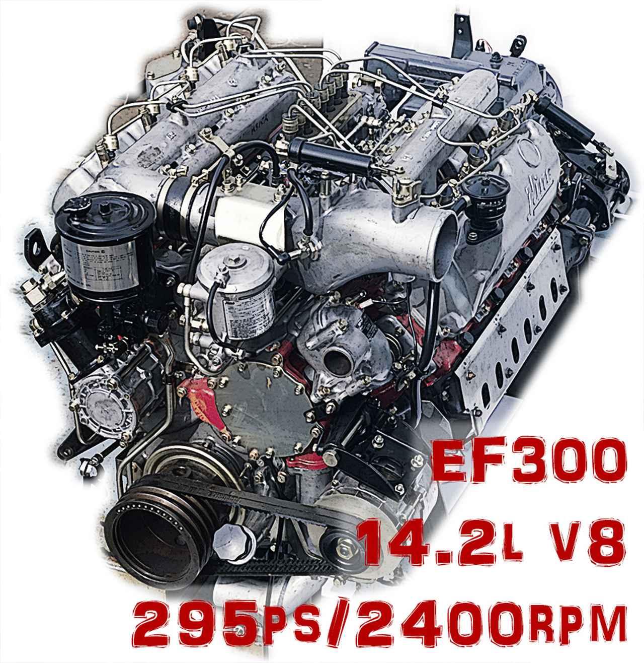 画像: 1977年ごろのRSやRVに搭載された、主力エンジンのEF300。14.2L V8で295ps/2400rpmを発生。