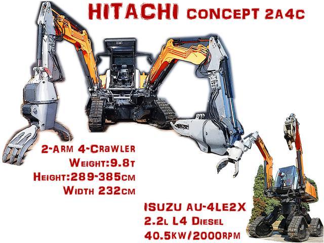 画像: タイトル画像:ザリガニのような大きなハサミと4本の脚をもつロボット。各脚にはクローラー(履帯走行装置)が付く。従来のクローラー建機にはできない、本体の水平維持による安定化と、アウトリガー(支柱脚)を不要としている。
