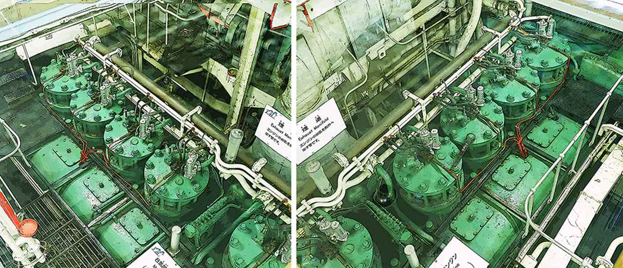画像: 主機関も当初の石炭ボイラー+3連成レシプロ蒸気推進から、飛躍的に効率が良く小型軽量で整備性の良い、2サイクル/直列8気筒ディーゼルエンジン2機に換装された。