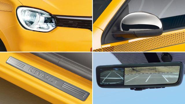 画像: トゥインゴ ブリヤントに採用される装備の一部。左上のLEDヘッドライト、右上のドアミラーカバー、左下のキッキングプレート、右下のフルディスプレイミラー。