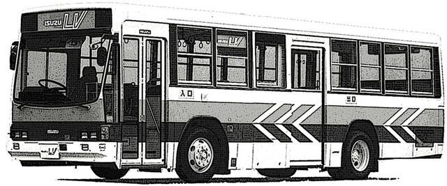 画像: 先々代のキュービック シリーズ(1984~2000年)。いすゞ初のスケルトン構造を採用し、低床化と大型窓を実現した先進的(現代的)デザインとなった。画像はH6/KC規制を、ビッグマイチェンで達成した1995年式ワンステップ型。前面が曲面2枚ガラスのタイプもある。