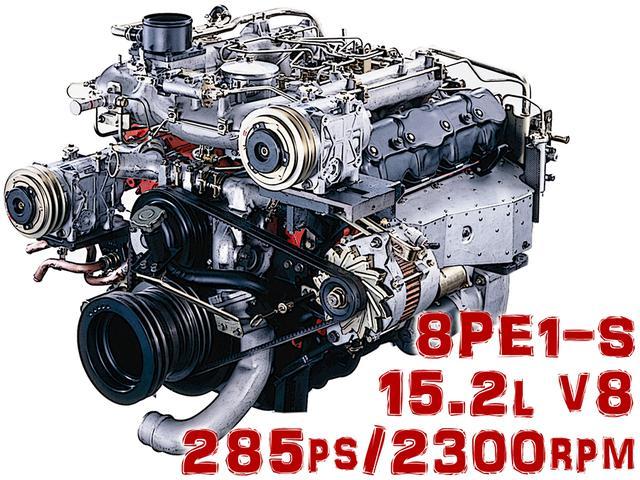 画像: キュービックに搭載された8PE1-S型エンジンは、規制クリアのため15.2L V8で285psと、いすゞ史上では最も大排気量・大出力だった。