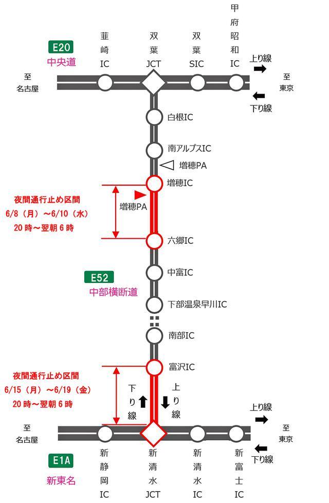 画像: 今回の通行止め区間の位置図。