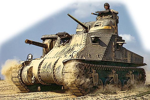 画像: WW2初期の1941年に登場したアメリカのM3中戦車。75mm主砲郭+37mm副砲塔+7.62mm機銃塔を3層に搭載する「鏡餅」型。3.1mもの車高は、ドイツ軍から格好の標的となった。だが、たった1年あまりで6250両も作られたのは、いかにもアメリカ的と言える。