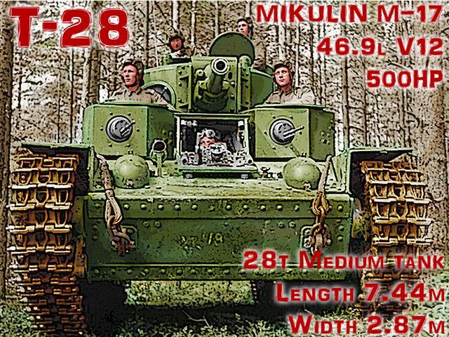 画像: T-35と同期のT-28中戦車は76mm主砲塔+機銃塔2基の3砲塔。他に3〜4丁のガンポートも備える。MIKULIN・M-17M V12エンジンは同じで、BMWの航空機エンジンが基になっている。