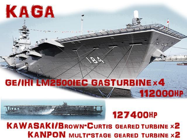 画像: タイトル画像:現在最大の護衛艦「かが」はヘリ空母に分類される。その大きさは旧海軍最大級の空母「加賀」に匹敵する。80年以上もの時を隔てた両者が、大きさだけでなくパワーも似たスペックなのが興味深い。