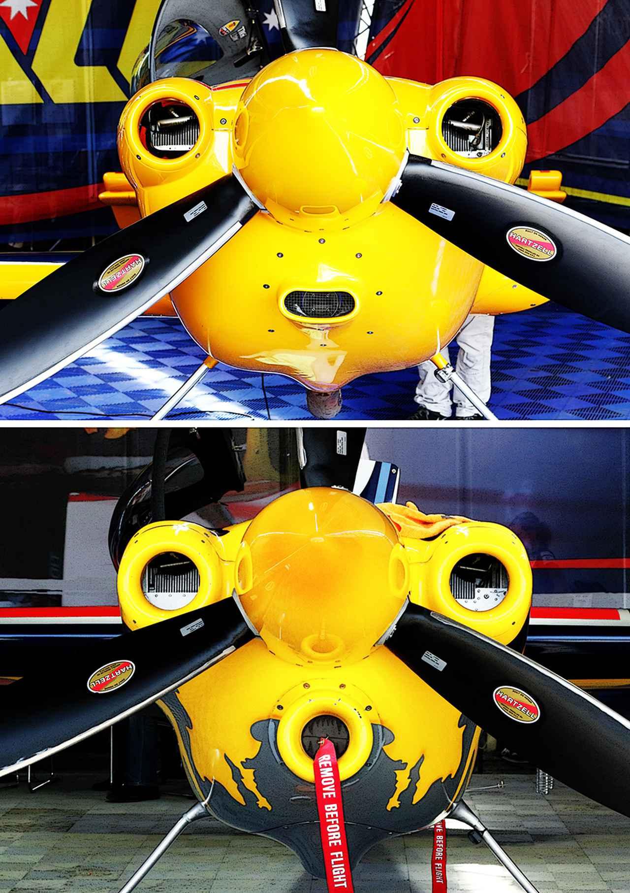 画像: エンジンだけでなくプロペラも一切の改造ができない。しかしプロペラシャフト両側の冷却口、下側の吸気口の形状は各チームで創意を凝らしている。同じ機体(事実上2機種)でも、微妙に顔つきが違うので面白い。