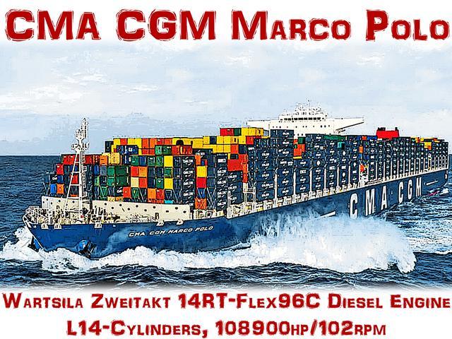 画像: トリプル Eクラスの就航前まで世界一だったCMA CGM マルコポーロ。総トン数は約17万5000トンで、1万6020個のコンテナを積載する。この世代まで、速力はなんと25〜27ノットの高速型だった。
