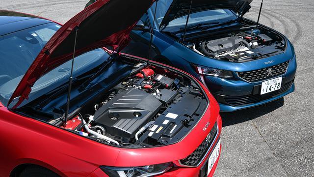 画像: ファストバックとステーションワゴンには、それぞれ2L直4ディーゼルターボ(BlueHDi・写真左)と1.6L直4ガソリンターボ(右)を設定。
