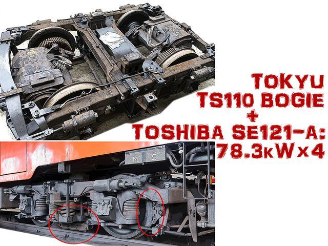画像: 大型モーターがギリギリで収まる台車。車輪ブレーキシュー(赤で囲った右)は鋳鉄製。レールを直接抑えるカーボンシューの圧着ブレーキ(赤で囲った左)と他の電車にはない特徴を持つ。