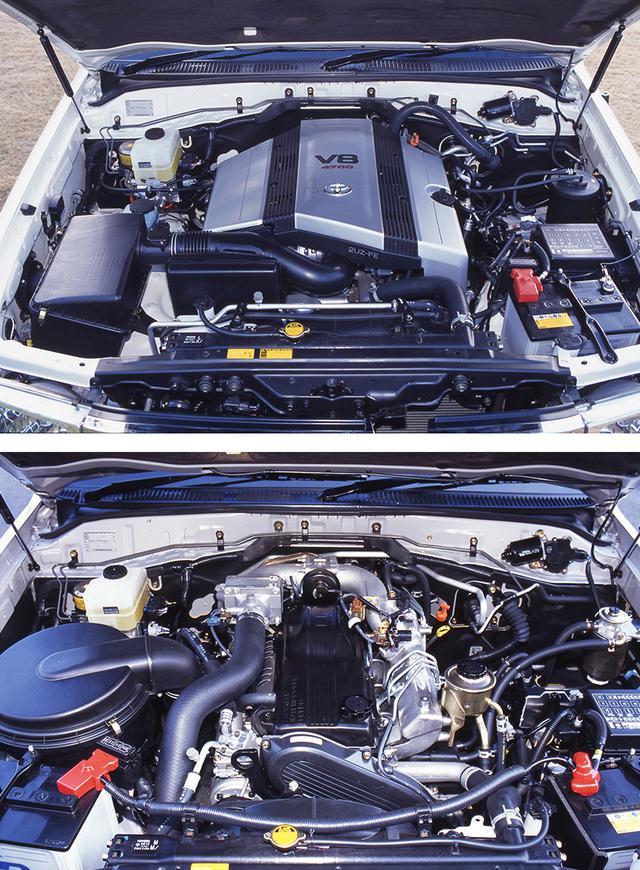 画像: 写真上部は、新開発された4663cc V型8気筒DOHCの「2UZ-FE(235ps)」ガソリンエンジン。下部の4163cc 直6 OHCディーゼルターボ「1HD-FTE」は205psを発生。