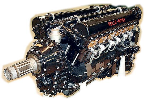 画像: 正統派V型エンジンのロールス・ロイス・マーリン。27.04L、3000回転とDBより小排気量だが高回転高出力型。大戦後半は良質の燃料が高過給圧を可能にした。クランクシャフトが下方で減速ギアを噛まして上部にプロペラシャフトが来る。無難で自由度の高い機体設計ができた。