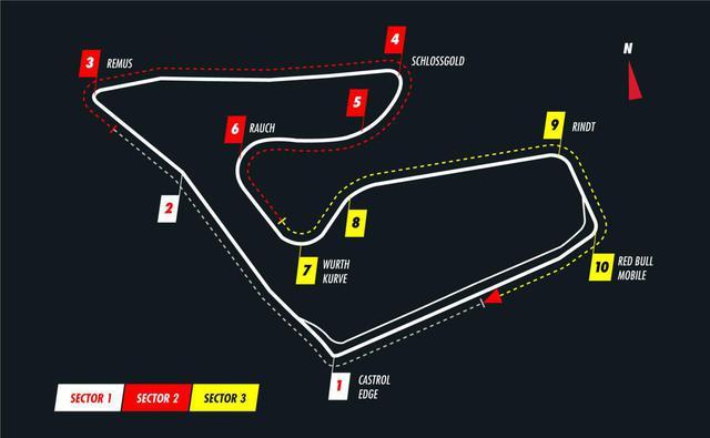 画像: レッドブルリンクのコース図。全長約4.3kmと短いが、1周をうまくまとめるのは難しい。レースではここを71周する。