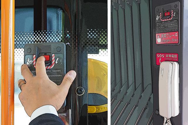 画像: 乗務員席直後や後車室には、異常時にバスを安全かつ急速に停車させる「EDSS」を搭載。最新の公共交通らしい安全装備も特徴だ。