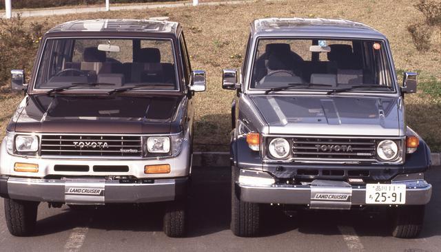 画像: ランドクルーザー70(右)の力強いエクステリアをプラド(左)は曲面を多用して体現している。