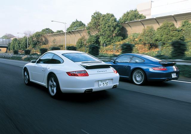 画像: 911カレラ4(左)と911カレラ4S。4WDモデルだが、かつてのようなRRの悪い癖を消そうというような、超安定志向のクルマではない。