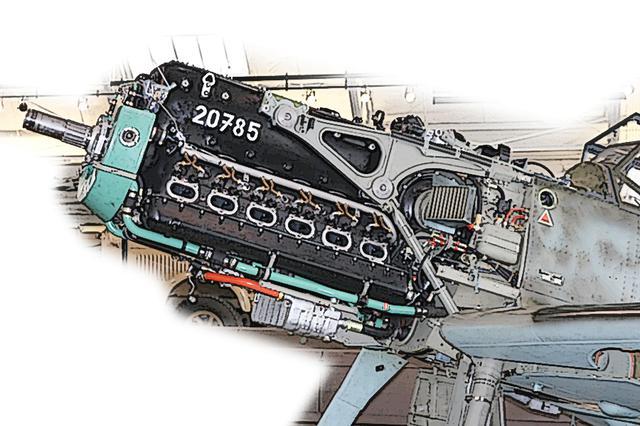 画像: Me109E 戦闘機などに搭載されたドイツ軍機のスタンダード、DB601型 V12エンジンは1100hpクラス。レコード機のMe209は瞬間的に2300hpまで絞り出すチューンがされた。