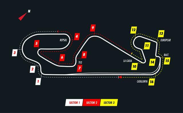 画像: スペインGPが開催されるカタロニア・サーキットのコースレイアウト。1コーナーまでの距離が690mと長めなので、まずはスタートダッシュが重要となる。3コーナーや9コーナーなど強烈なGフォースを伴う超高速コーナーが続く一方で、セクター3は一転テクニカルな低速セクションとなる。