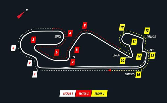 画像: スペインGPが開催されるカタロニア・サーキットのコースレイアウト。オーバーテイクは難しく、予選順位が重要となる。