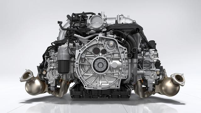 画像: 718ケイマンGT4と718スパイダーは新設計された4L水平対向6気筒自然吸気エンジンを搭載。