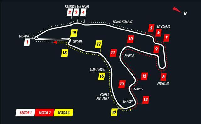 画像: ベルギーGPが開催されるスパ・フランコルシャンサーキットのコース図。全長約7km、高低差約100m、エンジン全開率約80%、オールージュでは縦G、プーオンでは横Gが待ち構える。