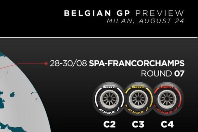 画像: 今年のベルギーGPのタイヤセット。昨年よりも一段柔らかいタイヤが用意される。