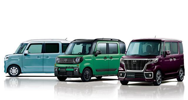 画像: 左から、フレアワゴン、フレアワゴン タフスタイル、フレアワゴン カスタムスタイルの3タイプを設定している。
