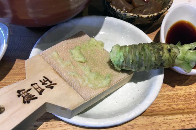 画像: 「三州わさび丼膳」の生わさび。食べるときにすりおろすことで、新鮮な香りや辛味が味わえる。